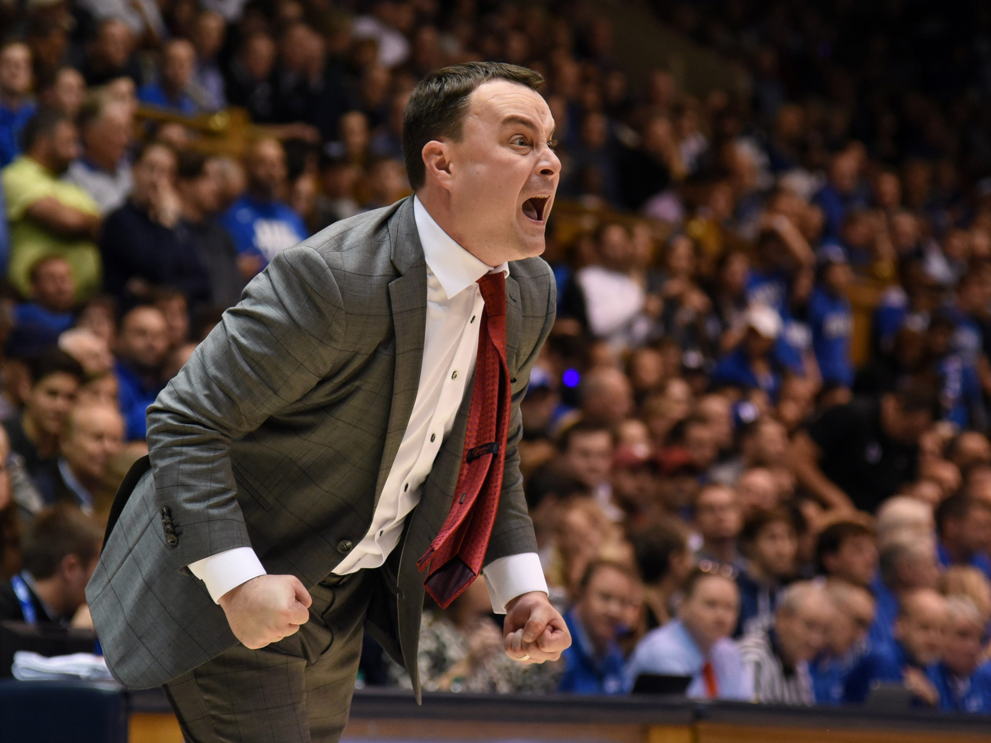 Nov 27, 2018; Durham, NC, USA; Indiana Hoosiers head coach Archie Miller reacts during the first half against the Duke Blue Devils at Cameron Indoor Stadium.