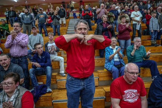 "Dan Byler, known to Westview High School basketball fans as The Whistler, whistles a song before the boys team's first game of the season on Tuesday, Nov. 20, 2018. ""I've been doing it since I was a sophomore in high school, which was about 1981-82,"" said Byler, of his 36-years of whistling. ""It takes a lot of air. It's a good talent to have if you have a lot of hot air to use."""