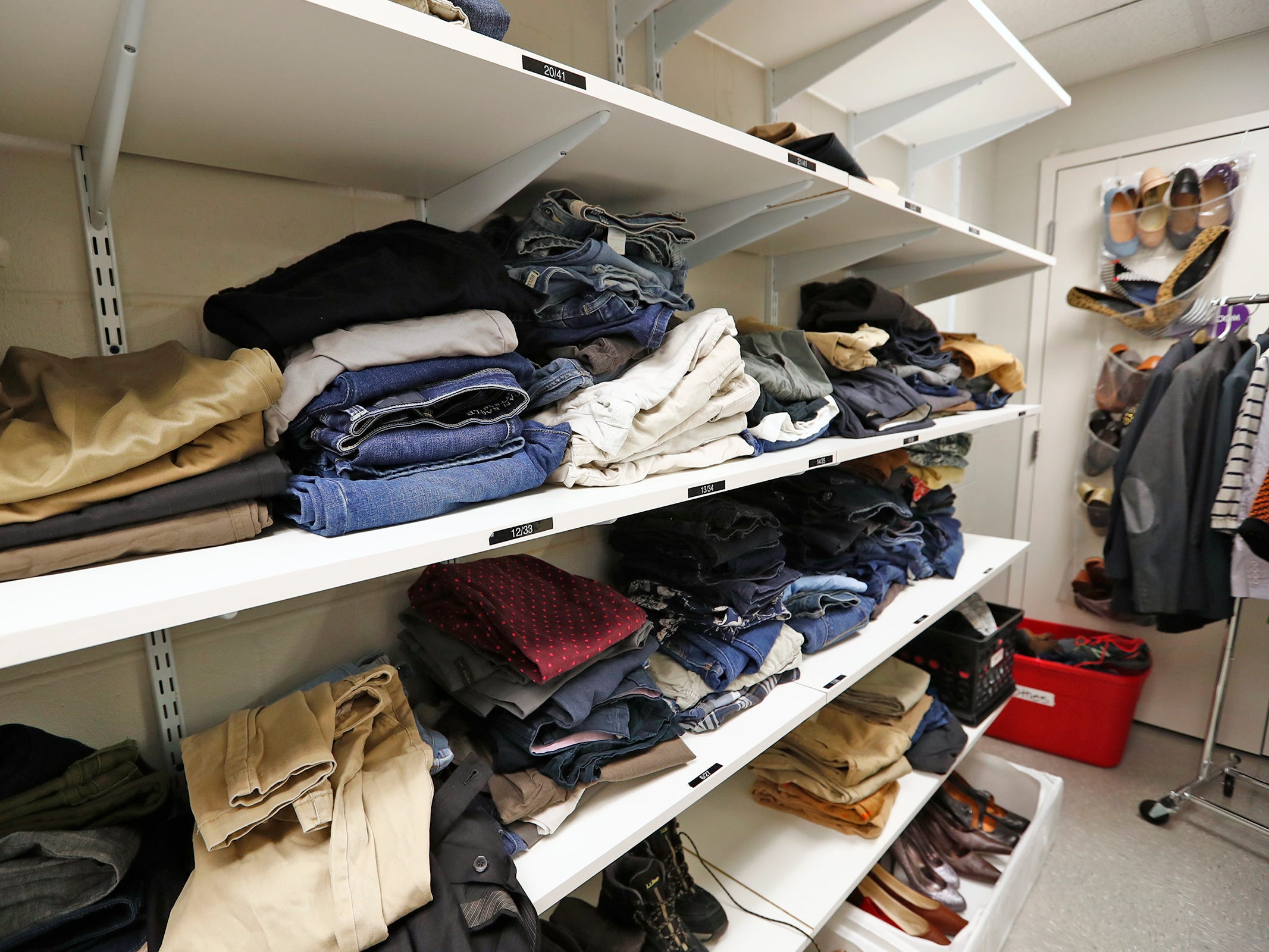 Clothes are available for use at Indiana Youth Group, Tuesday, Nov. 27, 2018.  The organization offers a safe drop-in center for LGBTQ+ youth, ages 12-20, and their straight ally friends, in the Indianapolis area.  Activities, tutoring, food and clothes pantries are included in the center.