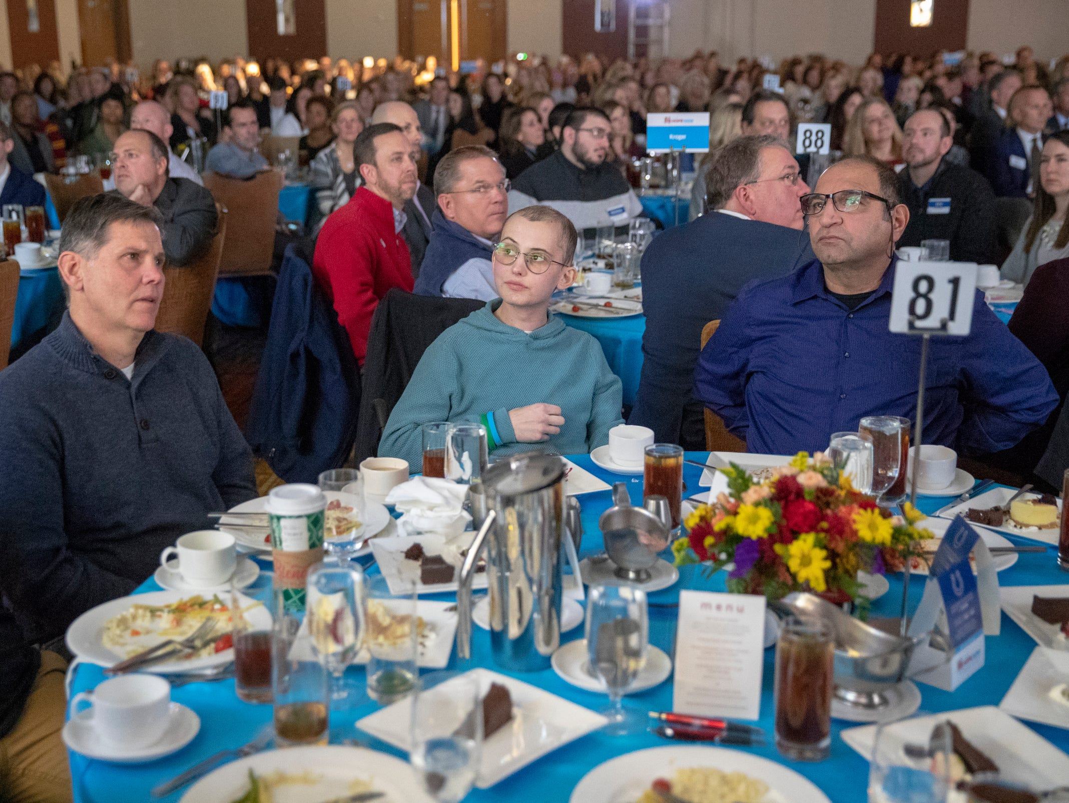 Tyler Trent (middle), at a fundraiser luncheon for Riley Children's Foundation's Be The Hope Now campaign, Indianapolis, Wednesday, Nov. 28, 2018. Trent, who has the rare bone cancer osteosarcoma, is in hospice care, and was given the Sagamore of the Wabash award, given to distinguished Hoosiers.