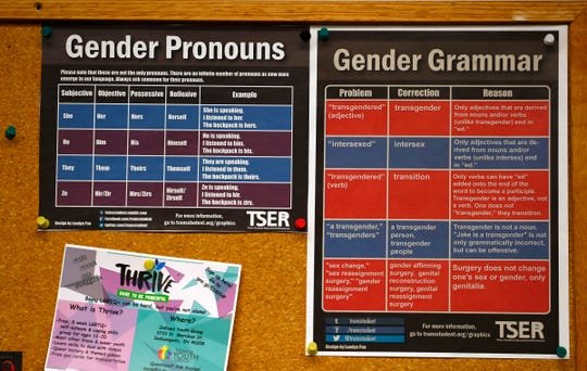 Fliers with gender-appropriate vocabulary are seen at Indiana Youth Group, Tuesday, Nov. 27, 2018.  The organization offers a safe drop-in center for LGBTQ+ youth, ages 12-20, and their straight ally friends, in the Indianapolis area.  Activities, tutoring, food and clothes pantries are included in the center.