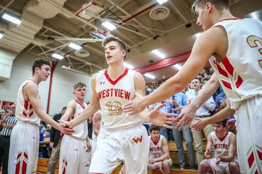 Westview's Elijah Hales (13) makes his way onto the court before the Bethany Christian Bruins game on Tuesday, Nov. 20, 2018.
