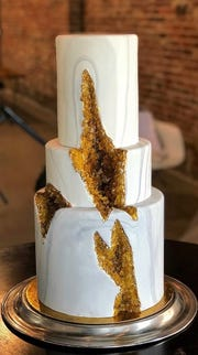 Cakes made to resemble geodes are one of the specialty cakes produced by Gallery Pastry Shop in Indianapolis.