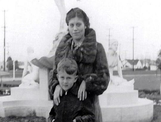 James Dean with his mother, Mildred, who died when he was 9.