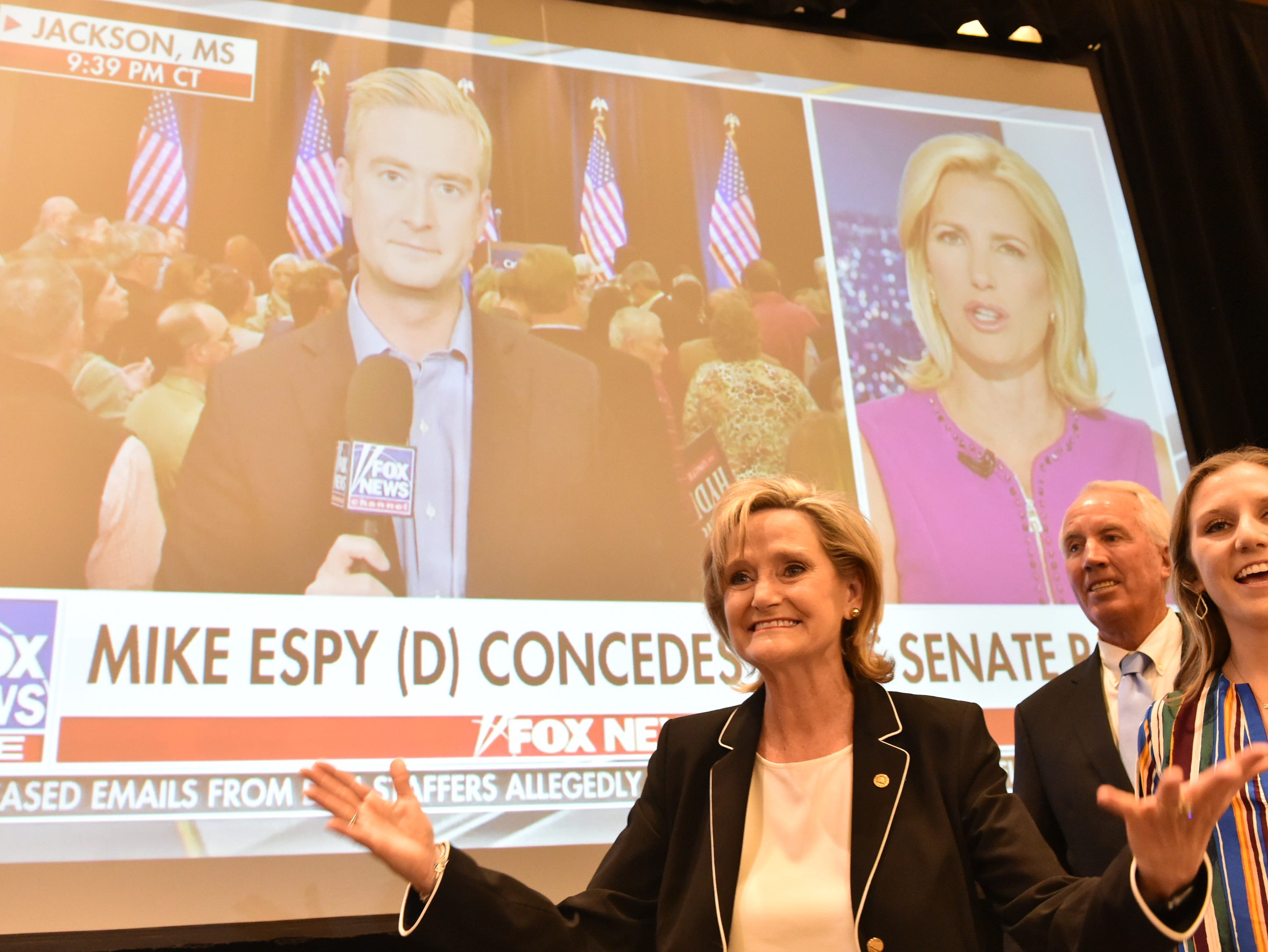 U.S. Sen Cindy Hyde-Smith enters the room of her election watch party at the Westin Hotel in Jackson following the announcement of her win against democratic candidate Mike Espy in the runoff for U.S. senate. Jackson, Miss. Tuesday, Nov. 27, 2018.