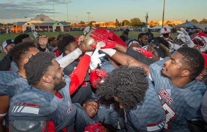 No. 1 ranked East Mississippi, seen here celebrating its MACJC Championship 19-14 victory at Jones on Nov. 10, play in the NJCAA national title game Thursday night.(Photo/Bob Smith-For the Clarion Ledger)