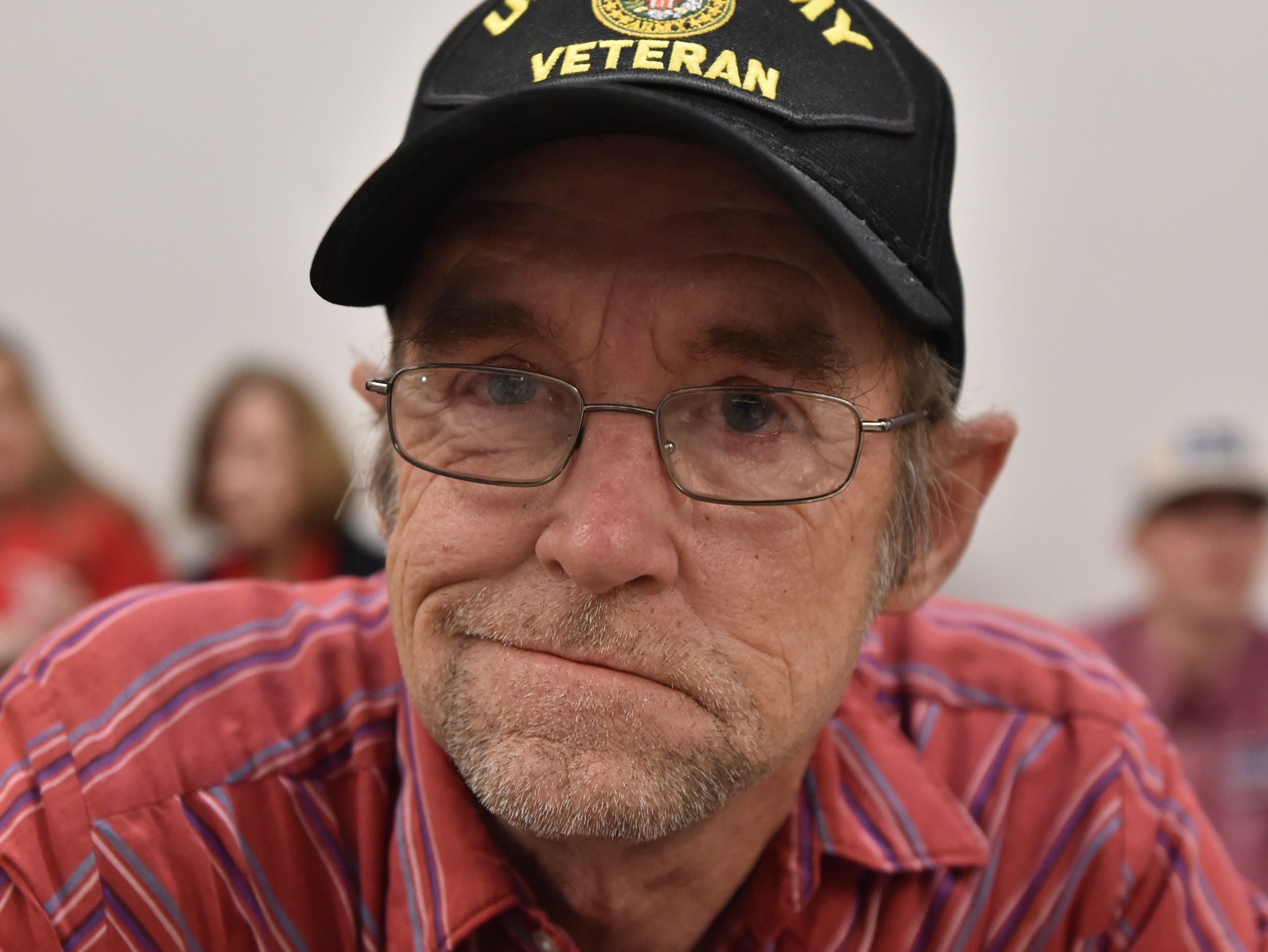 Wayne Turner, a U.S. Army veteran from Raymond awaits the arrival of incumbent U.S. Sen. Cindy Hyde-Smith to the watch party held in her honor at the Westin Hotel of downtown Jackson. A supporter of Hyde-Smith since her appointment to the senate by Miss. Gov. Phil Bryant, Turner says of Hyde-Smith's run for senate, 'If it ain't broke, don't fix it'. Jackson, Miss. Tuesday, Nov. 27, 2018.
