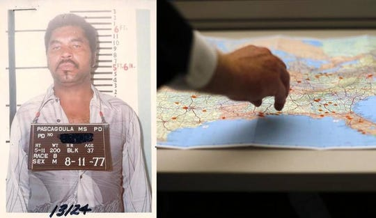 A mugshot of Samuel Little taken in 1977 is next to a 2013 photo where Los Angeles Police Detective Rick Jackson marks a map with dots indicating where Little had police contacts. He's suspected in as many as 90 killings of women across the country.