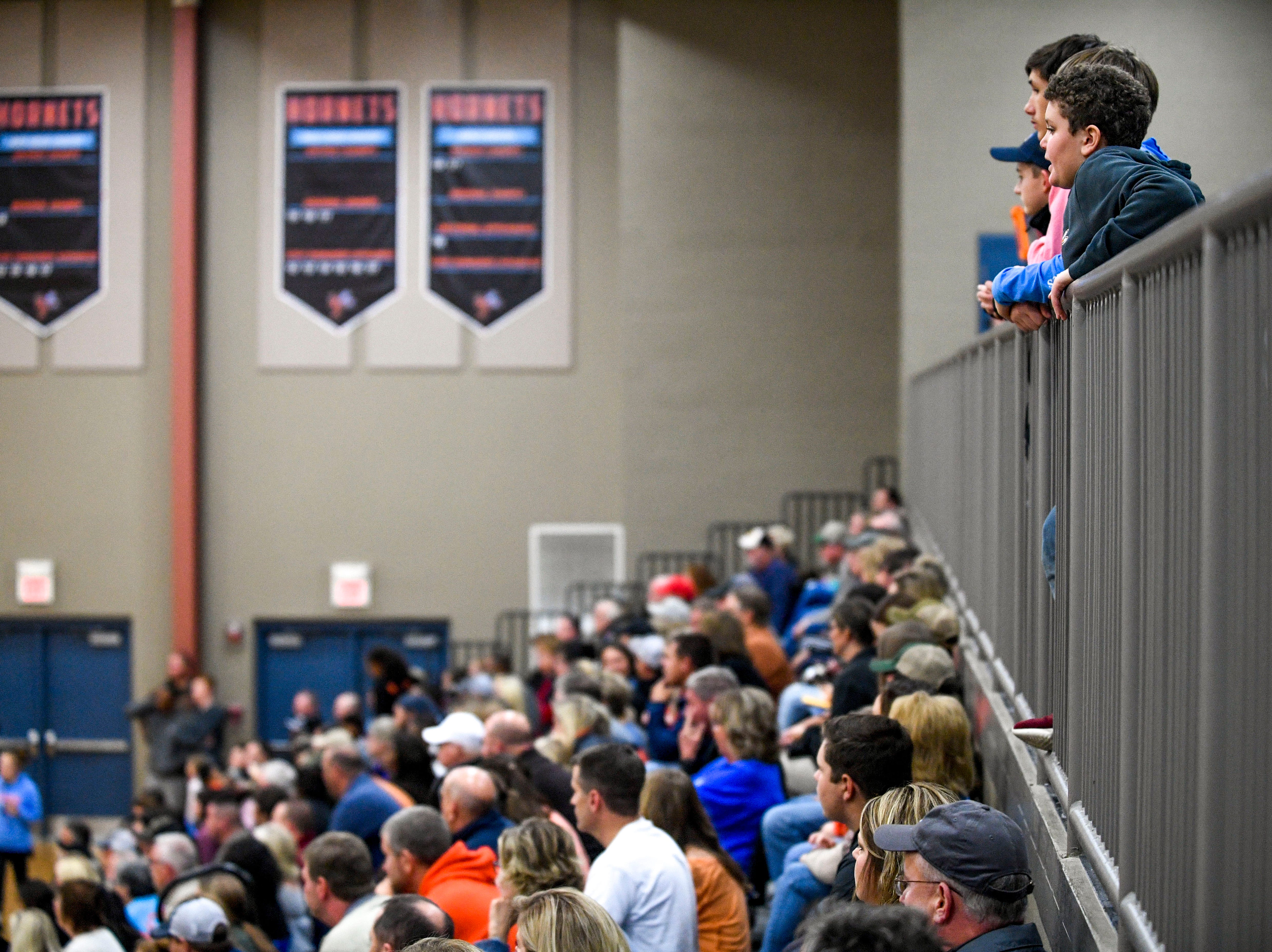 South Gibson fans watch from the upper level of the stands in a TSSAA boys basketball game between South Gibson and Haywood High Schools at South Gibson High School in Medina, Tenn., on Tuesday, Nov. 27, 2018.