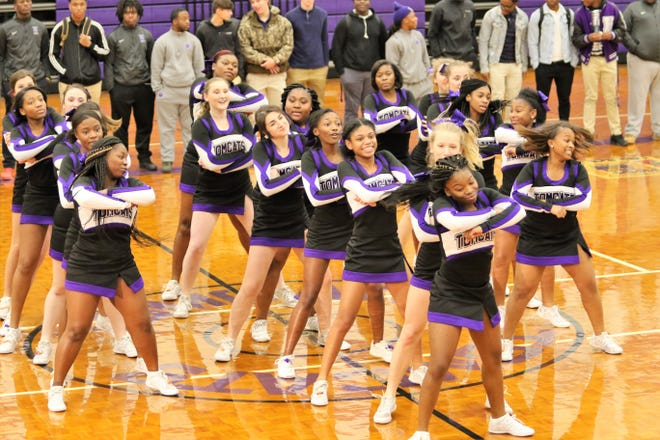 The Haywood cheerleaders finish up a routine during the pep rally on November 27, 2018.