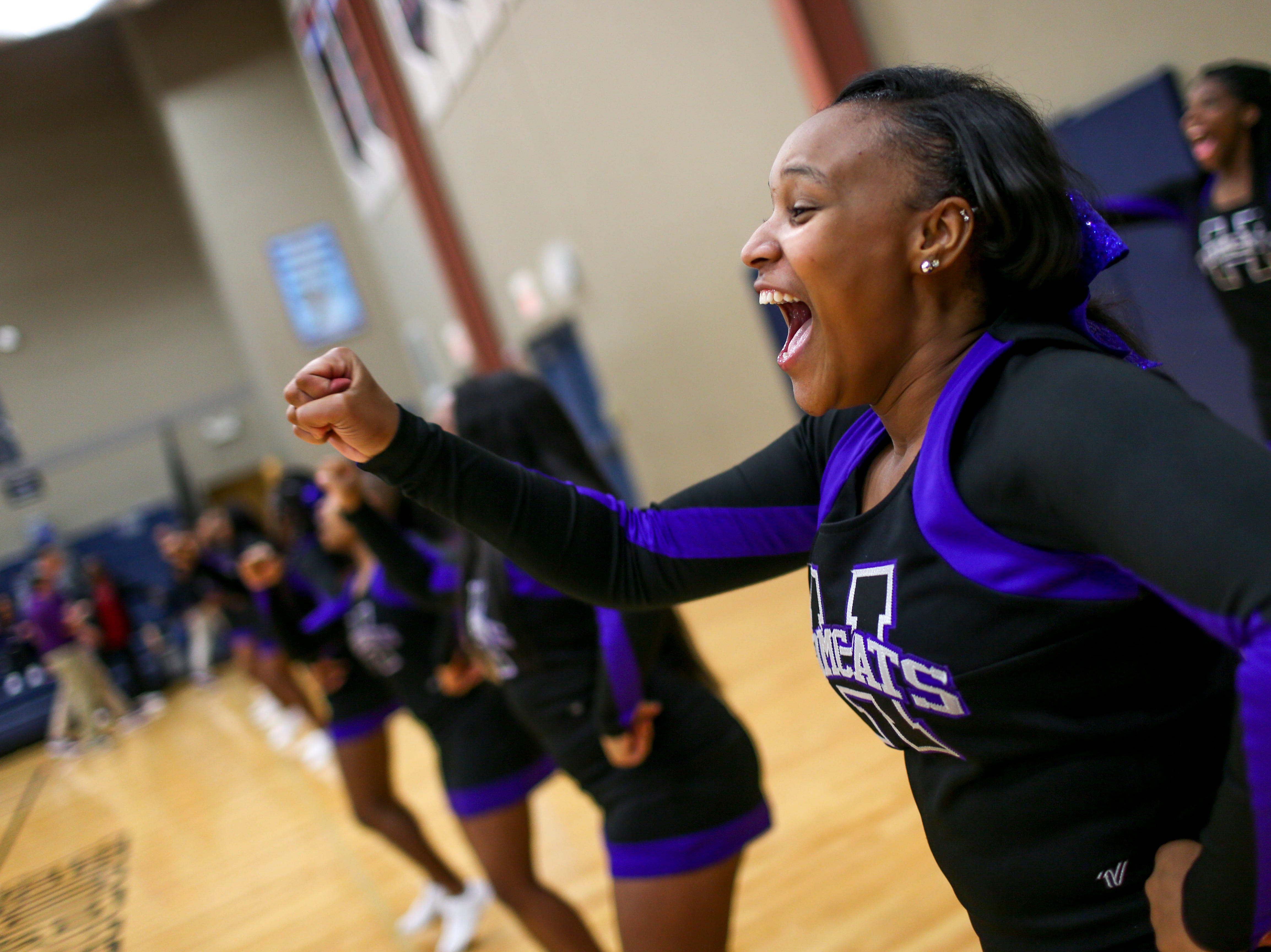 Haywood cheerleaders cheer for their team in a TSSAA boys basketball game between South Gibson and Haywood High Schools at South Gibson High School in Medina, Tenn., on Tuesday, Nov. 27, 2018.