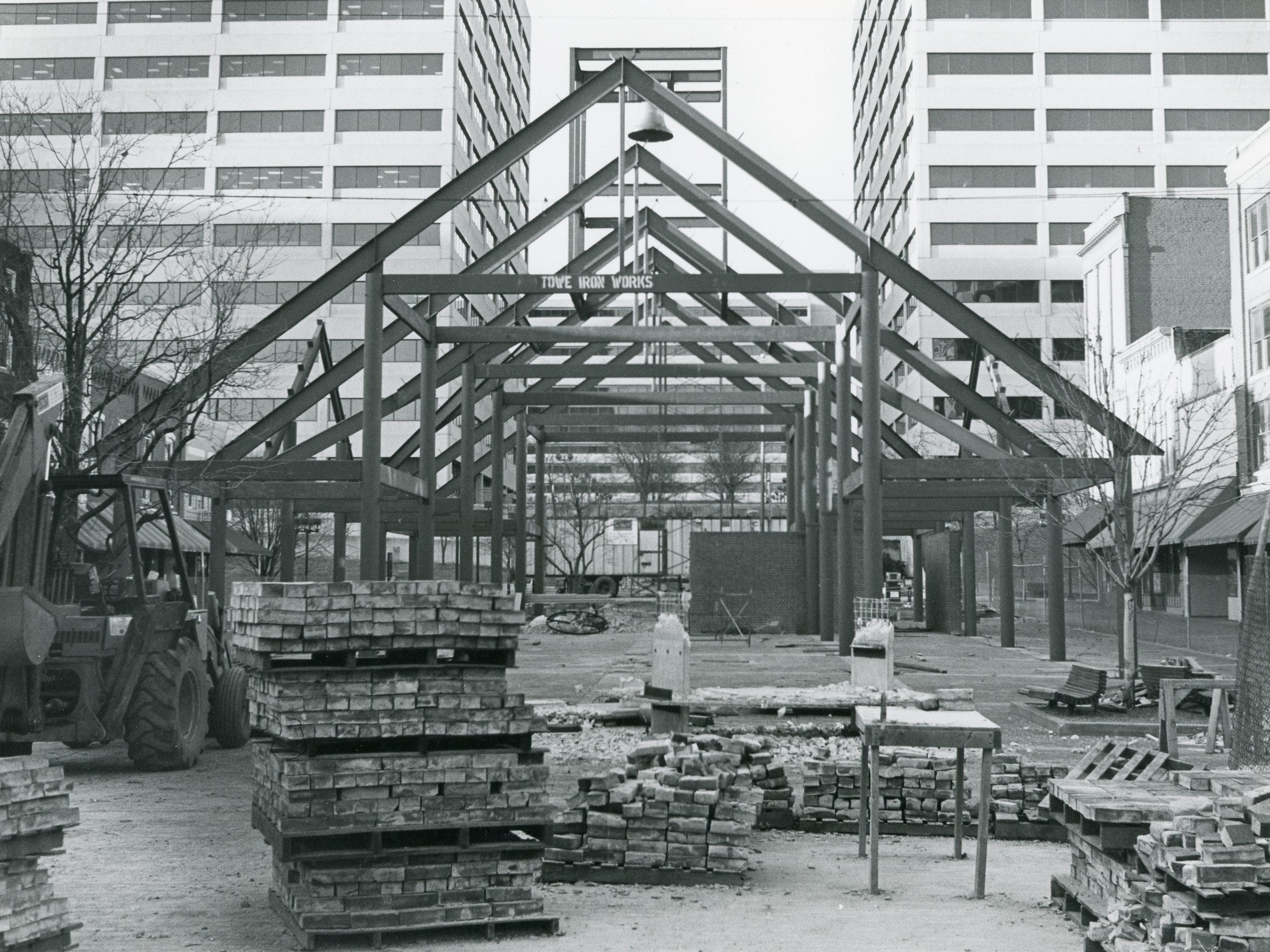 The project on Market Square, taken from Union Ave. looking toward the TVA Towers. January, 1986