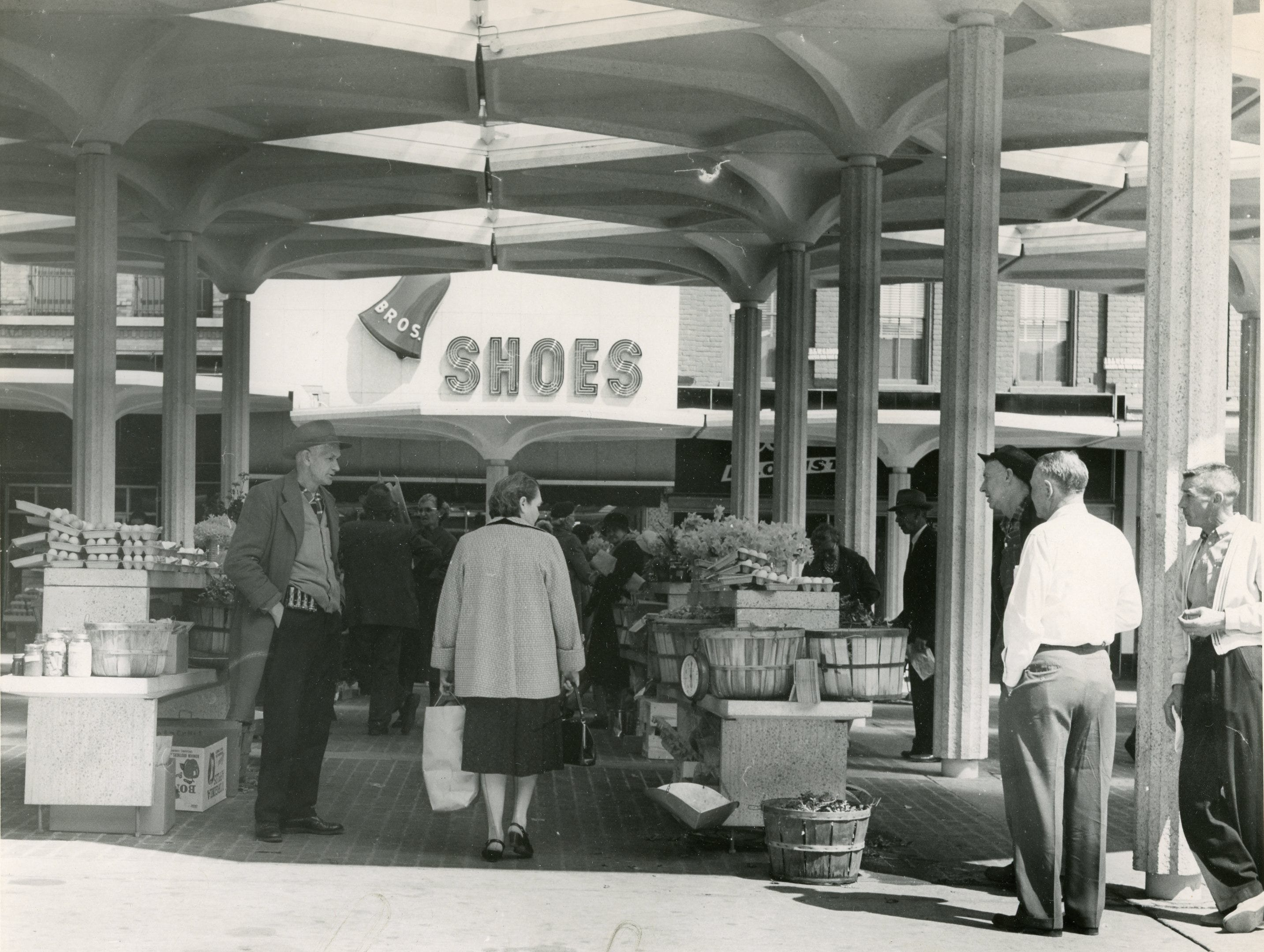 Shoppers browse through Market Square Mall, March, 1962.