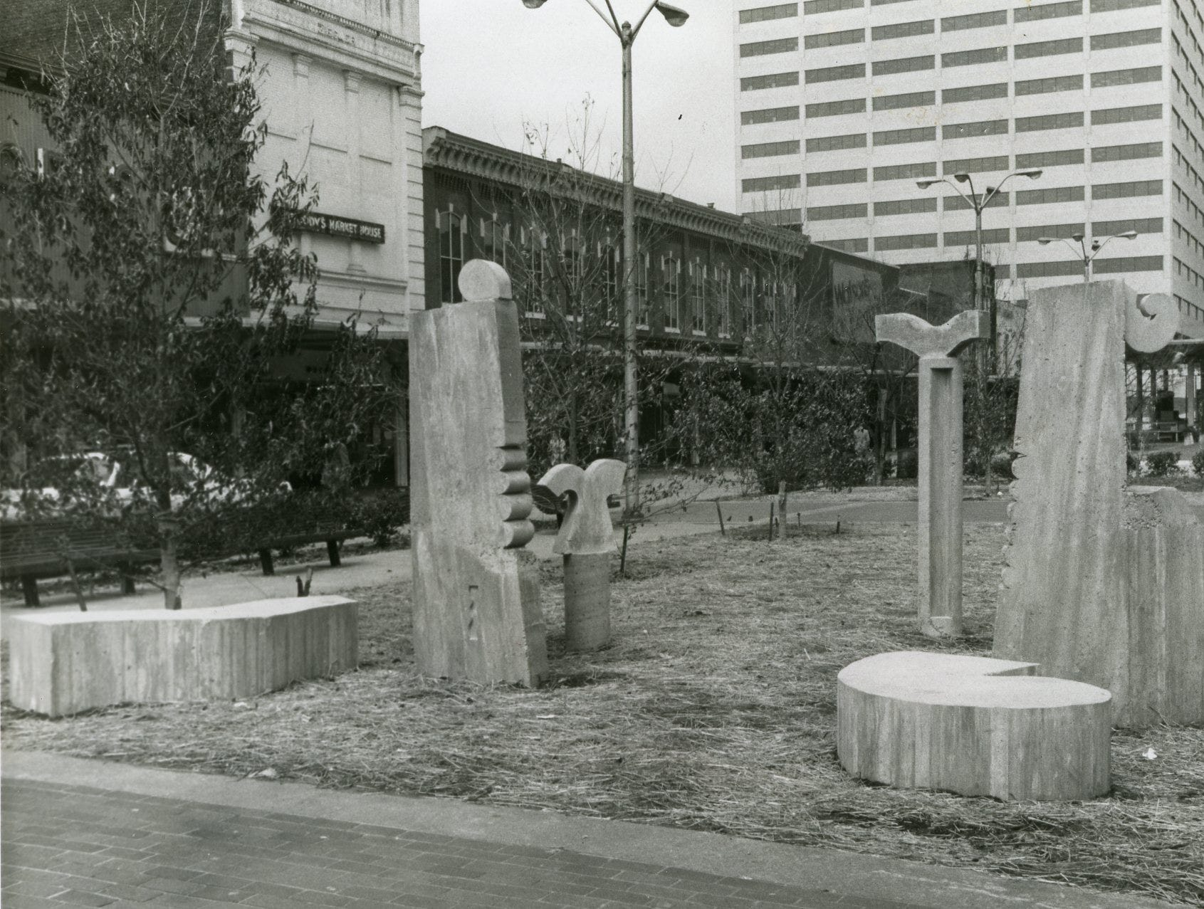 Statues on Market Square Mall, April, 1979.