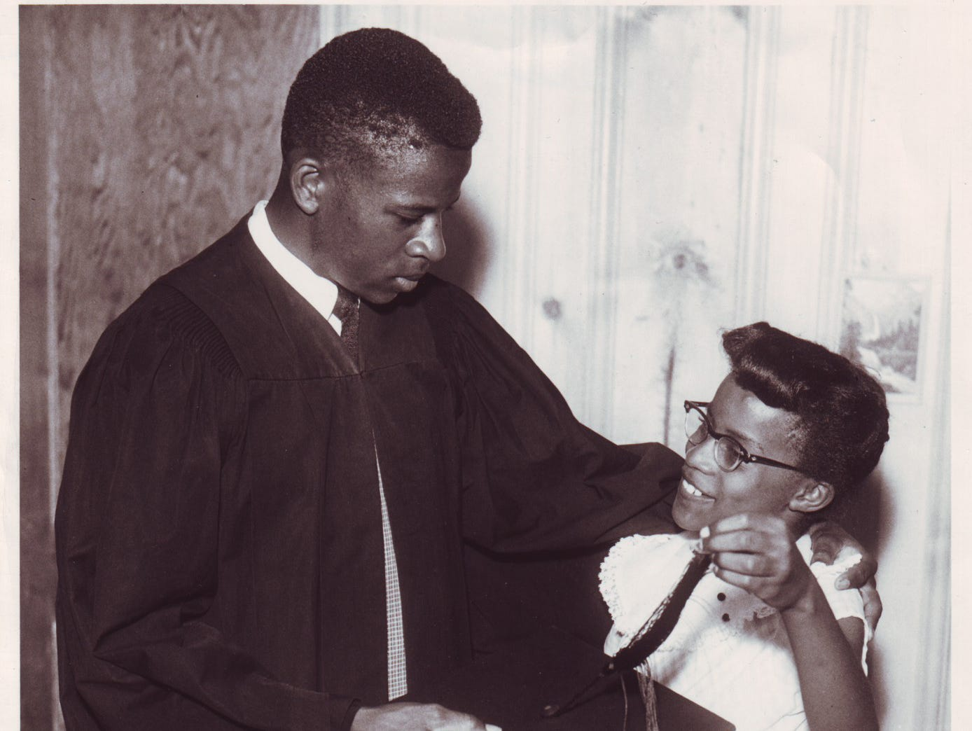 Bobby Cain and his sister, Diane. He was the first black to graduate from Clinton High School.  05/13/1957.