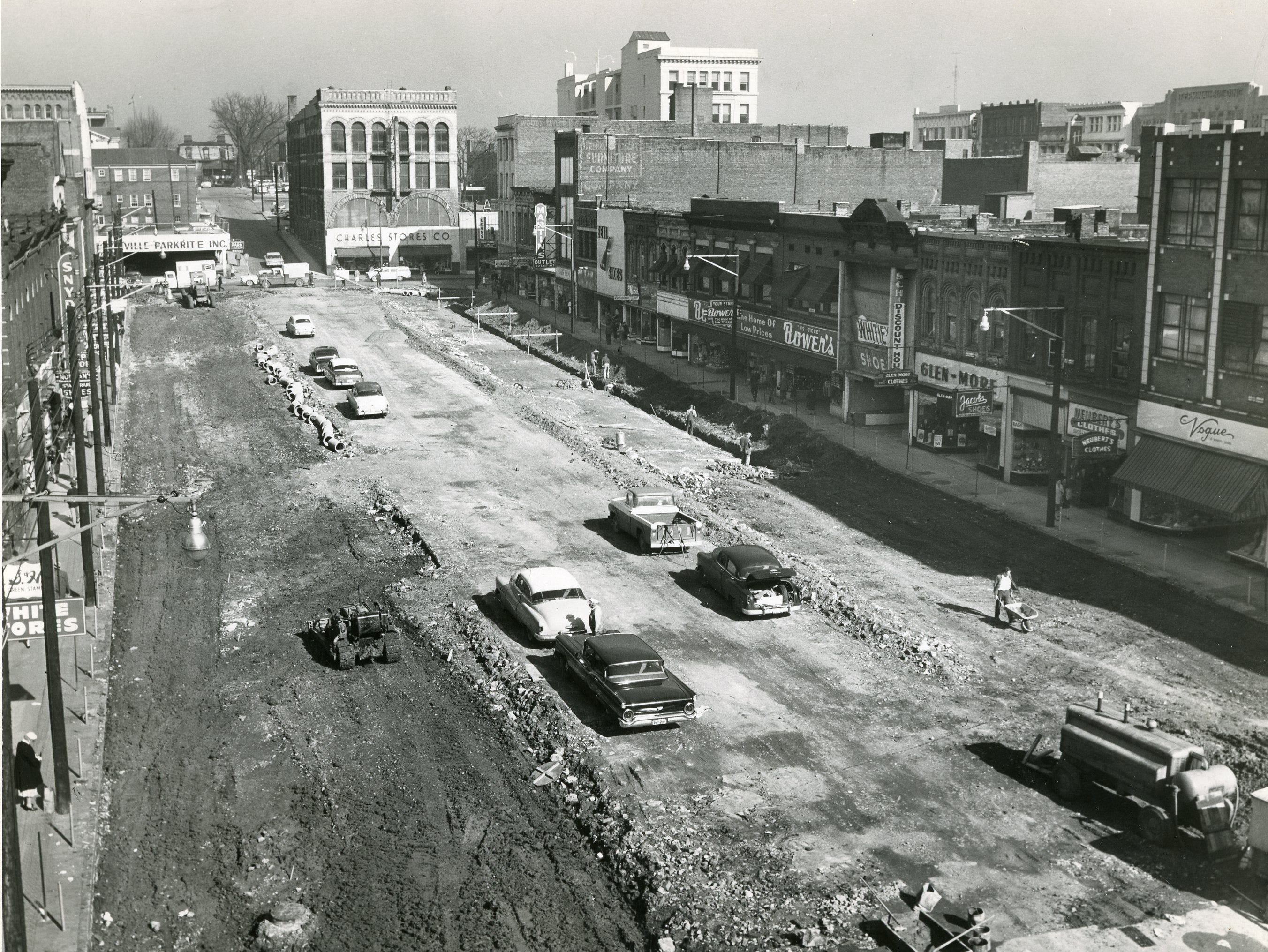 "The caption on this March, 1961 photo simply states ""Mall progresses""."