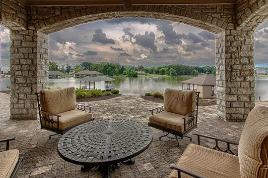 The covered patio at 12313 Mallard Bay Drive