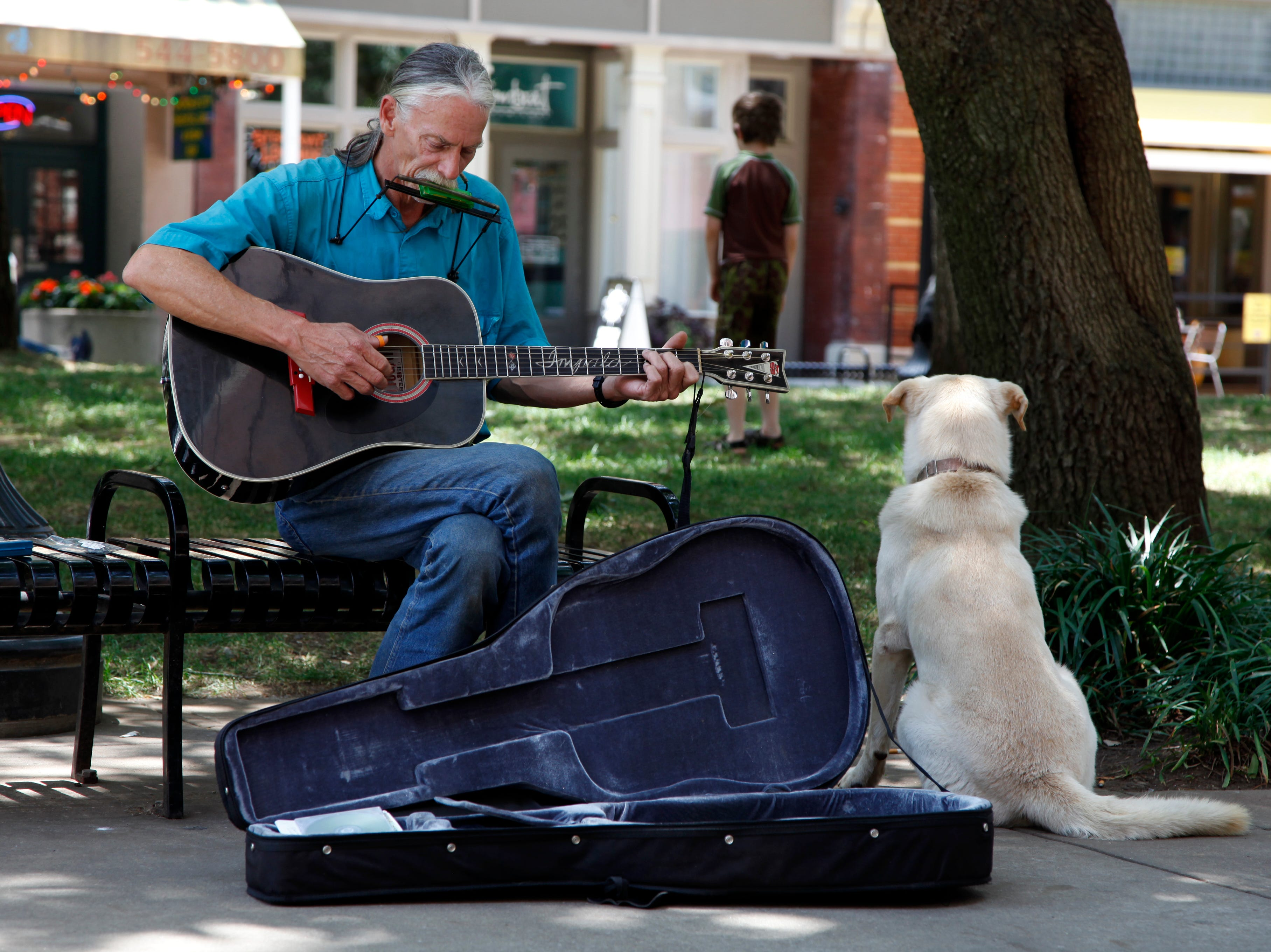 Bill Page plays for tips with his dog, Jake, Thursday, June 17, 2010 on Market Square. Page was cited by KPD May 7 for obstructing the sidewalk on Gay Street in front of an empty building next to the Regal Riveria 8 Theatre.