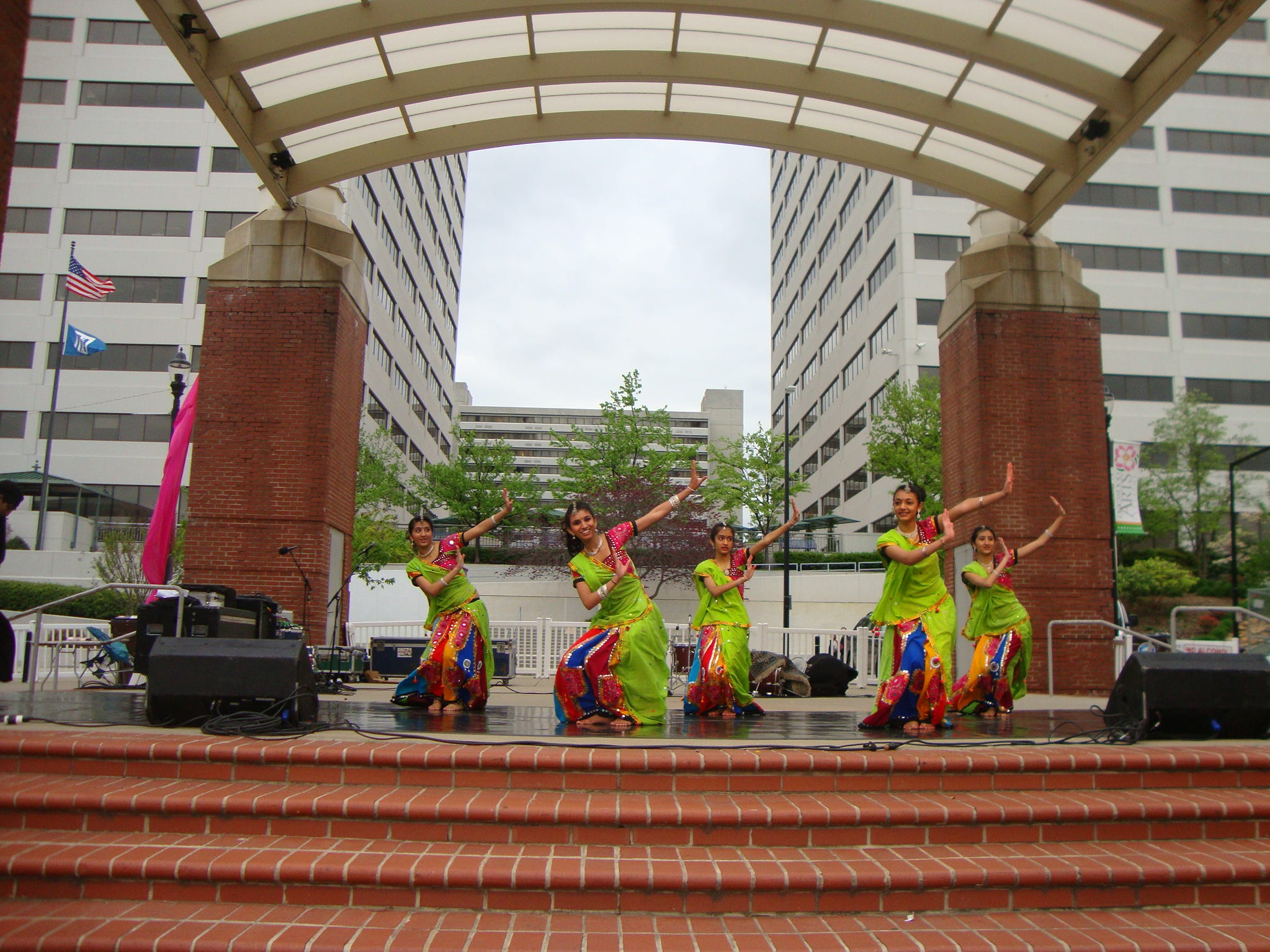 From left, Purvi Patel, Nisha Mistry, Juhi Patel, Selena Patel and Priya Patel perform at the Dogwood Arts Festival on Market Square. They are students with Arya Dance Acadamy, located at Dance Center West in Knoxville. 2011
