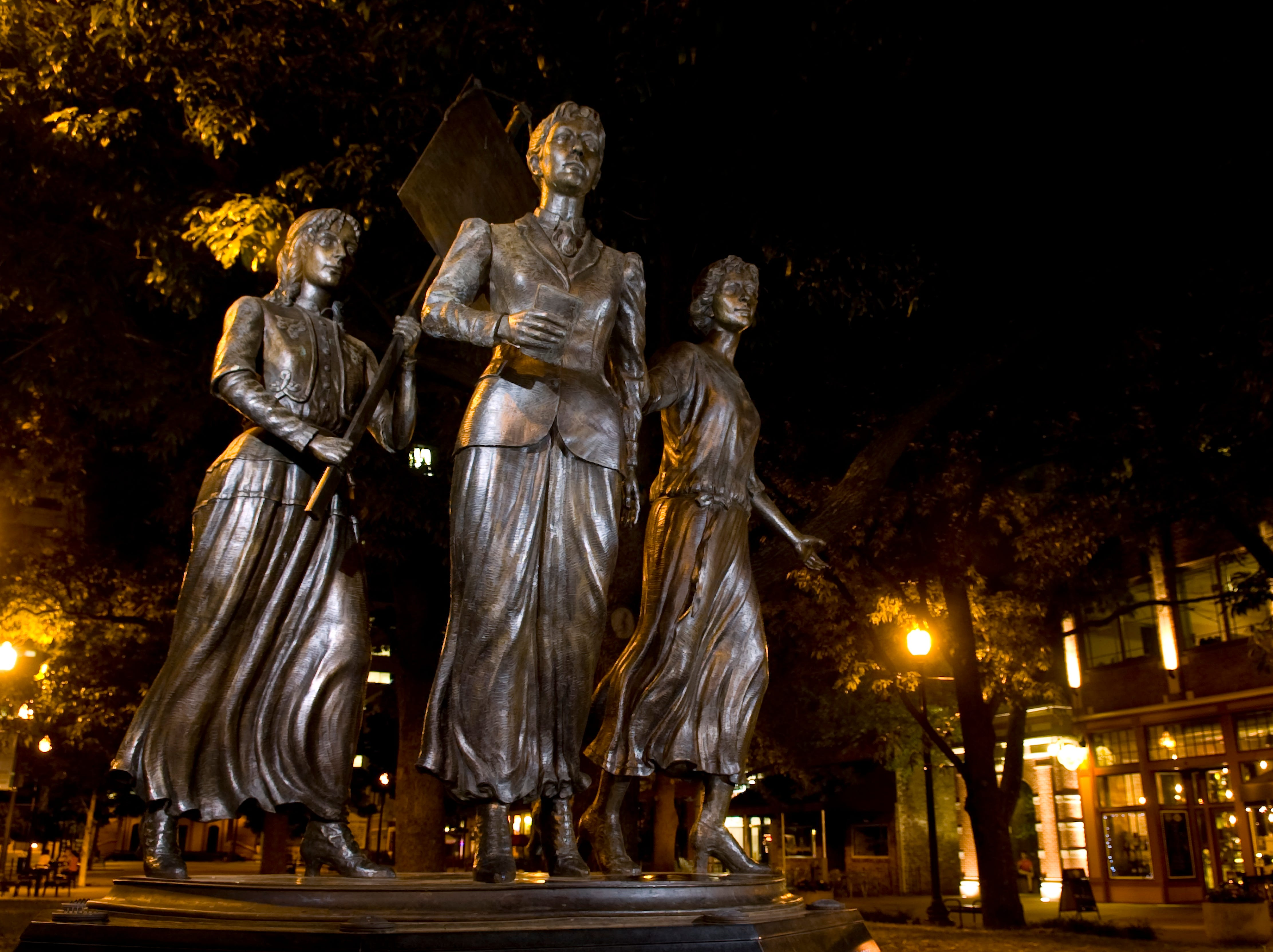 The Tennessee Women's Suffrage Memorial at the entrance to Market Square is pictured on July 20, 2009. The Memorial was unveiled in August of 2006 and was sculpted by Nashville's Alan LeQuire. The Memorial depicts Tennessee sufragists Lizzie Crozier French, center, Anne Dallas Dudley, left, and Elizabeth Avery Meriwether.