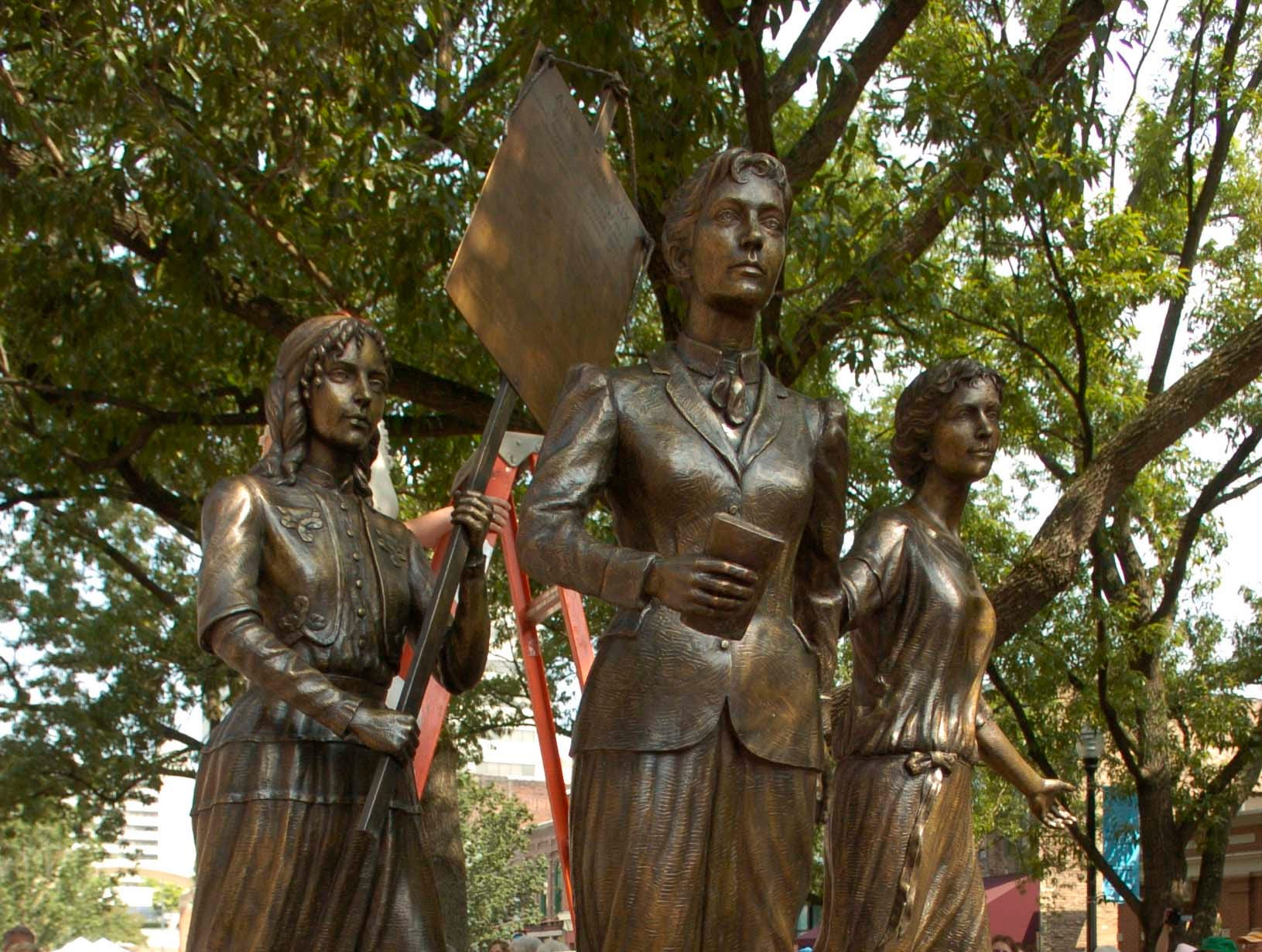 The Tennessee Woman Suffrage Memorial was unveiled in Market Square following a parade and program commemorating the movement.