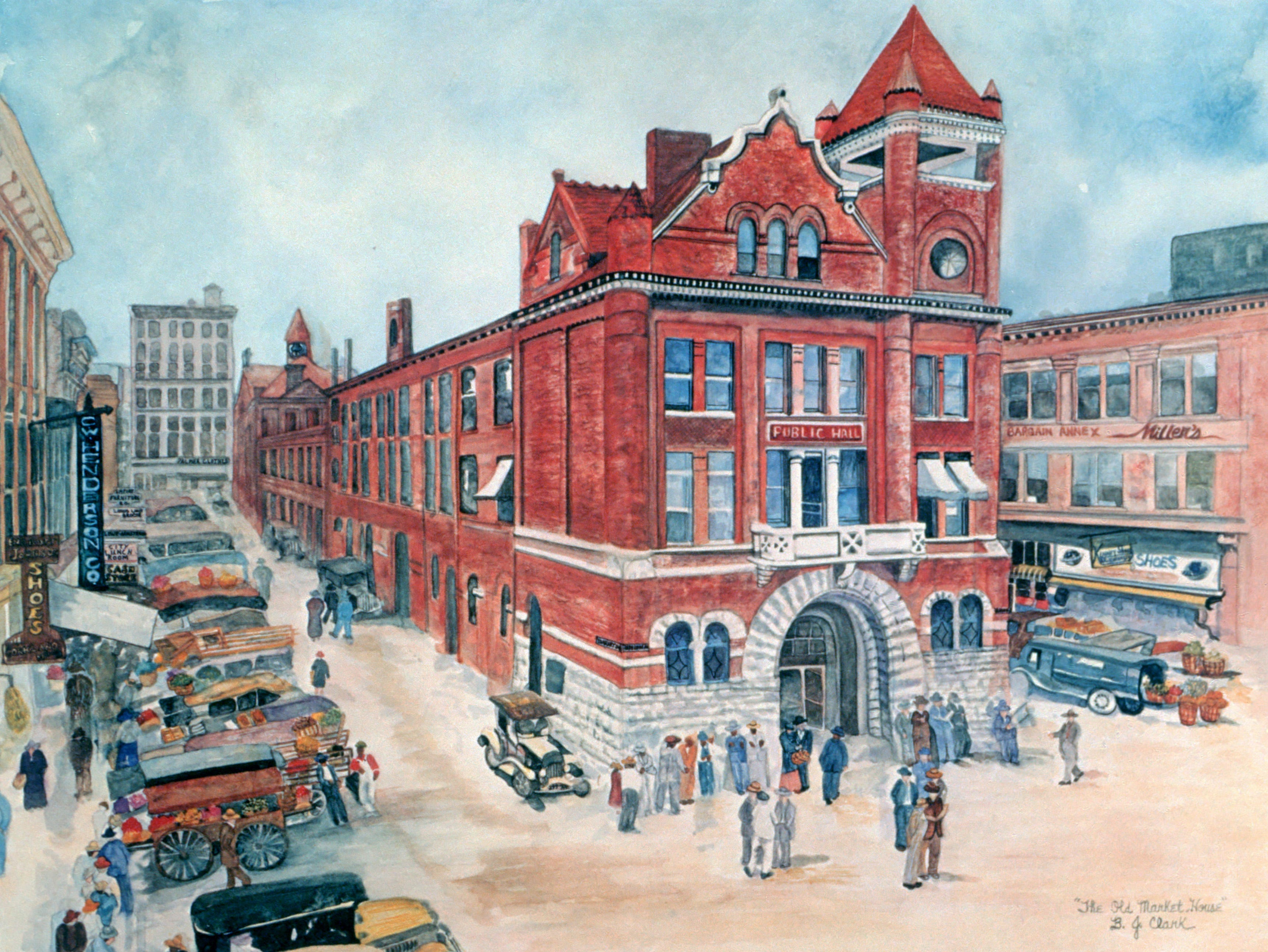 B.J. Clark's painting of the Market House on Market Square captures a scene from her childhood.