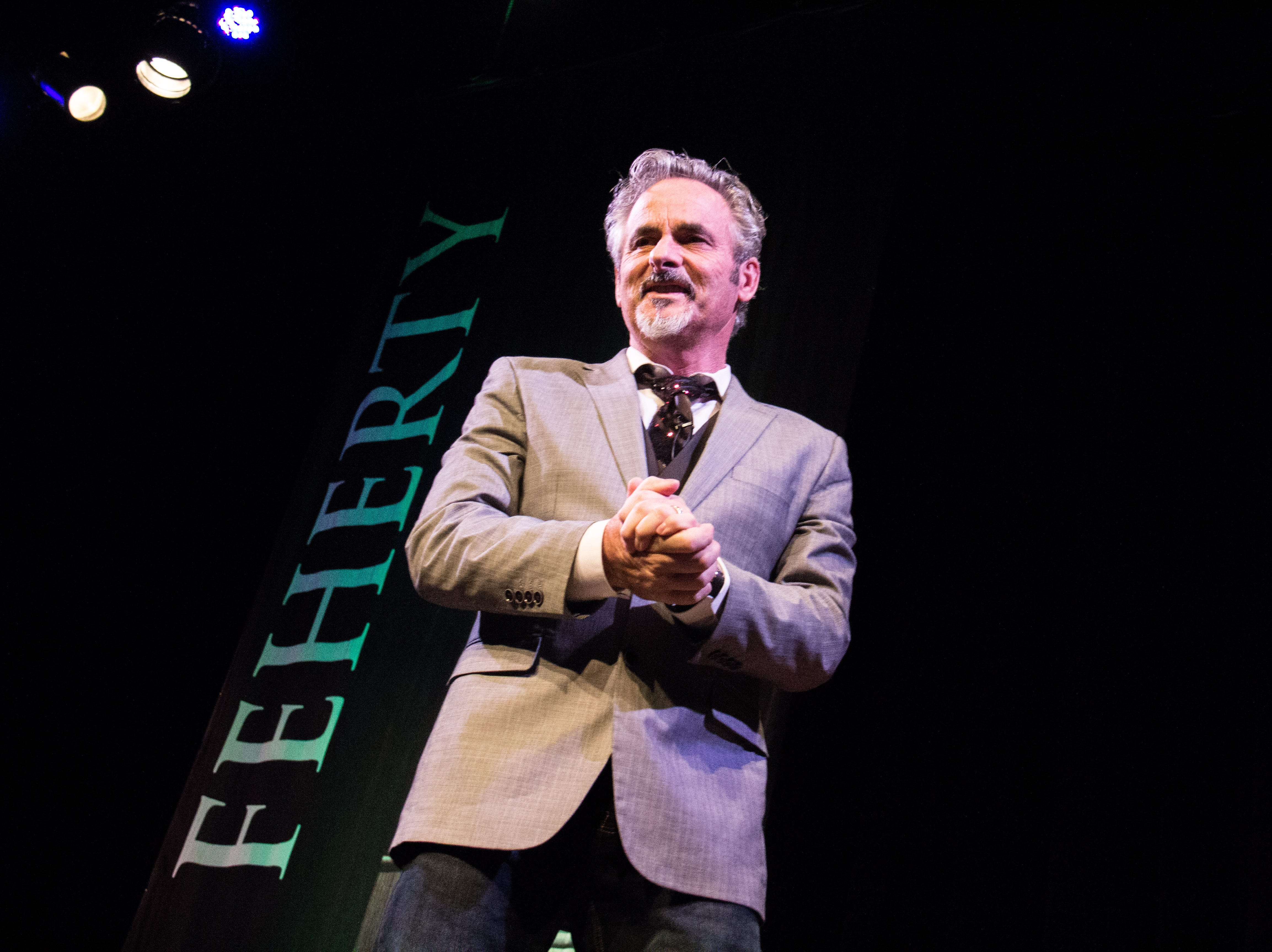 David Feherty performs his comedy routine at the Bijou Theatre in Knoxville on Nov. 16, 2018.