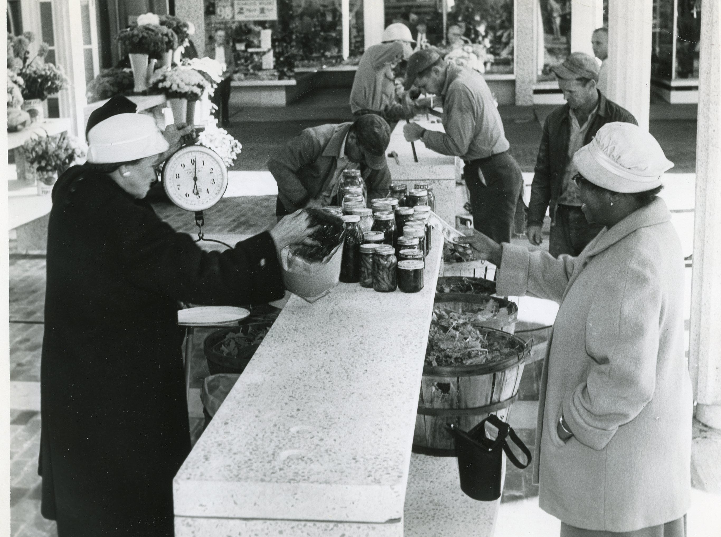 Shoppers on Market Square Mall, October, 1961.