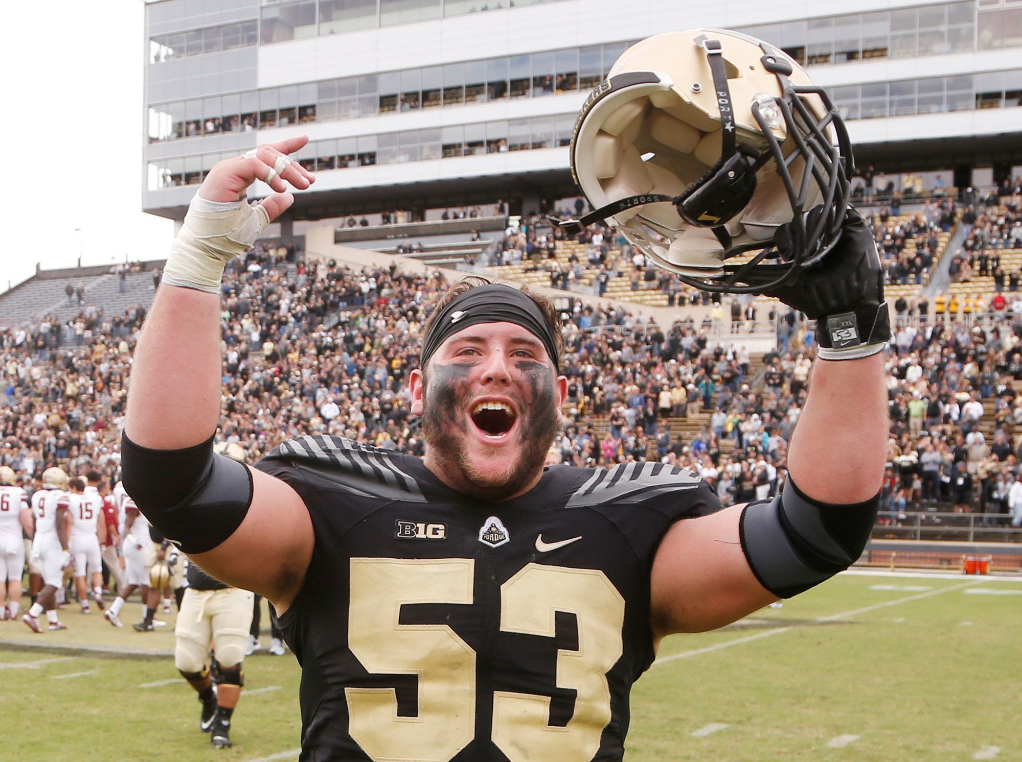 Purdue center Kirk Barron celebrates after the Boilermakers defeated No,. 23 Boston College 30-13 Saturday in Ross-Ade Stadium.