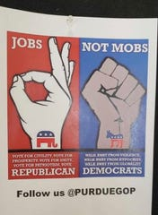 This poster, produced and posted on campus by the Purdue University College Republicans a week before the Nov. 6 election, has been criticized for its racial overtones and the use of a hand gesture appropriated by white supremacists. Among the critics is David Bridges, faculty adviser to the student group.