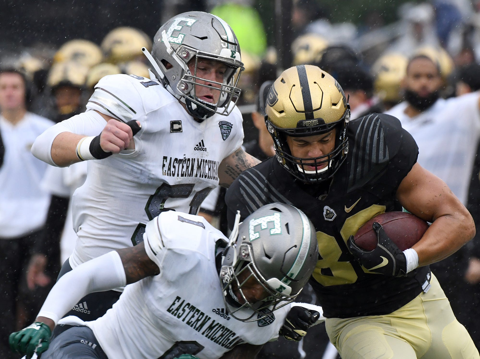 Purdue's Brycen Hopkins runs for yardage against Eastern Michigan in West Lafayette on September 8, 2018. Purdue lost 20-19.