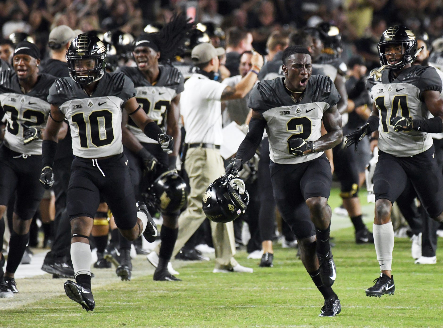 Kenneth Major (2) of Purdue reacts after intercepting a Missouri pass late in the fourth quarter Saturday, September 15, 2018, in West Lafayette. Purdue lost 40-37 on a Missouri field goal as time expired.
