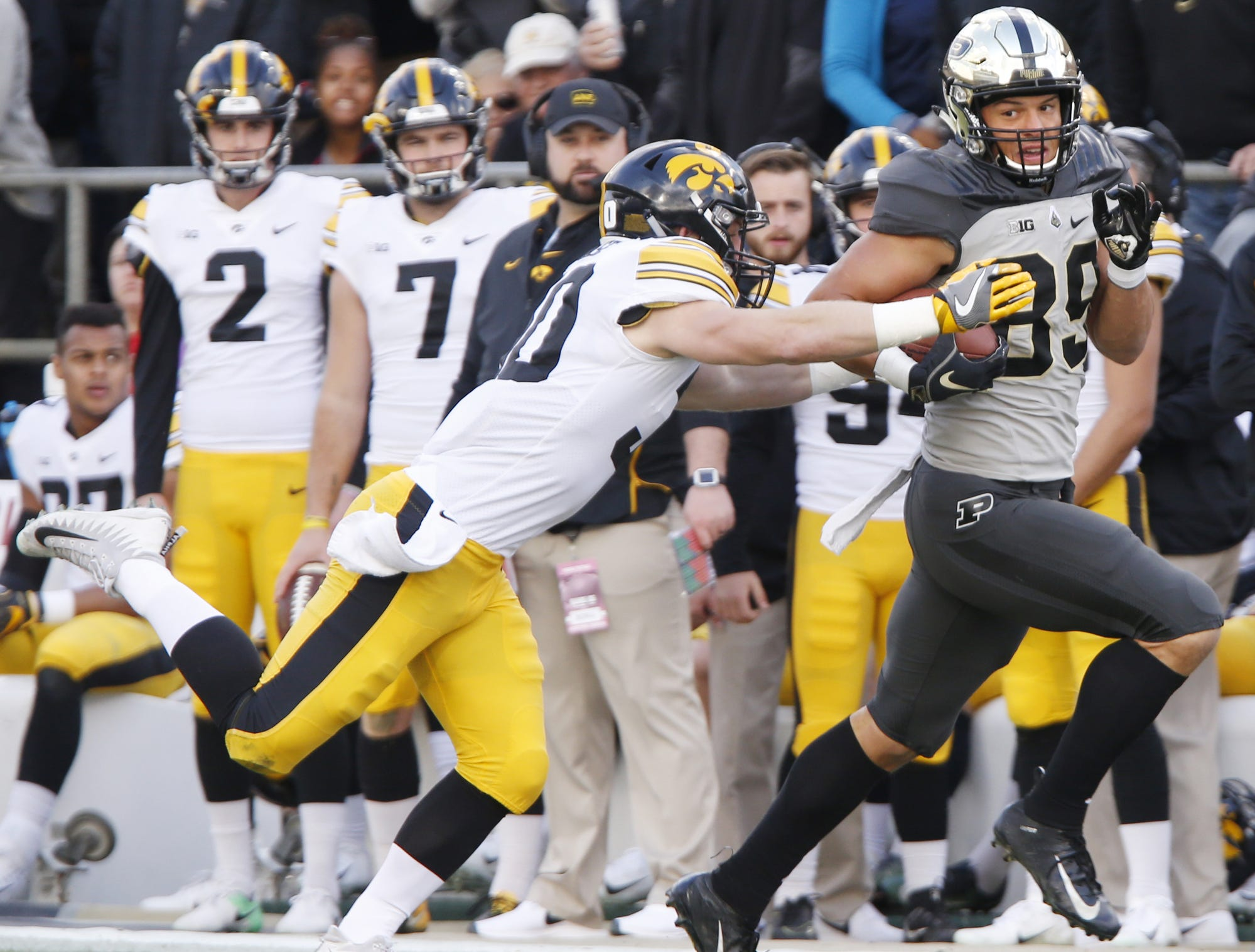 Purdue tight end Brycen Hopkins with a pass reception in the first half against Iowa Saturday, November 3, 2018, at Ross-Ade Stadium.