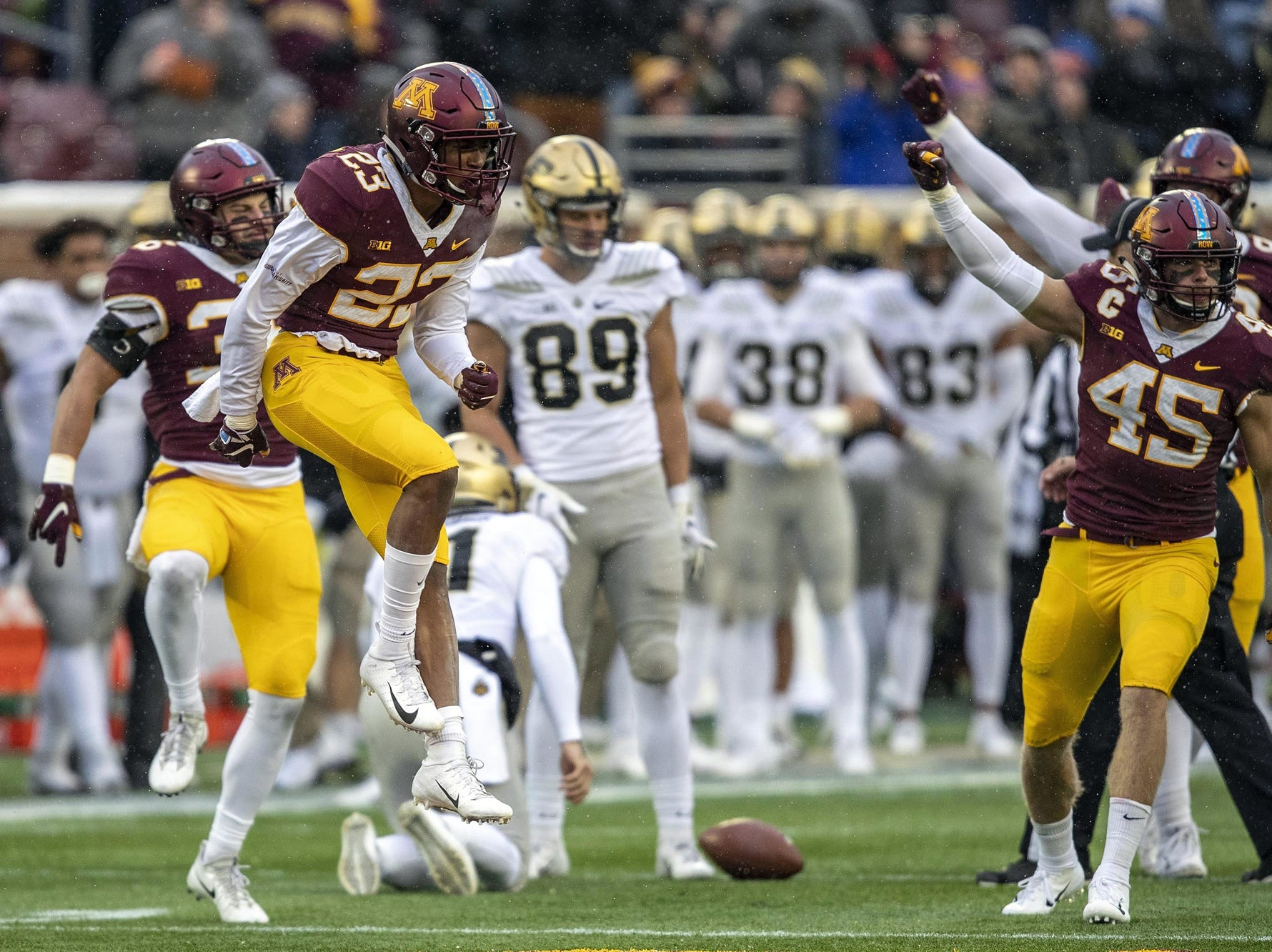 Minnesota defensive back Jordan Howden celebrates after the Gophers stopped Purdue on fourth down during the first half Saturday.