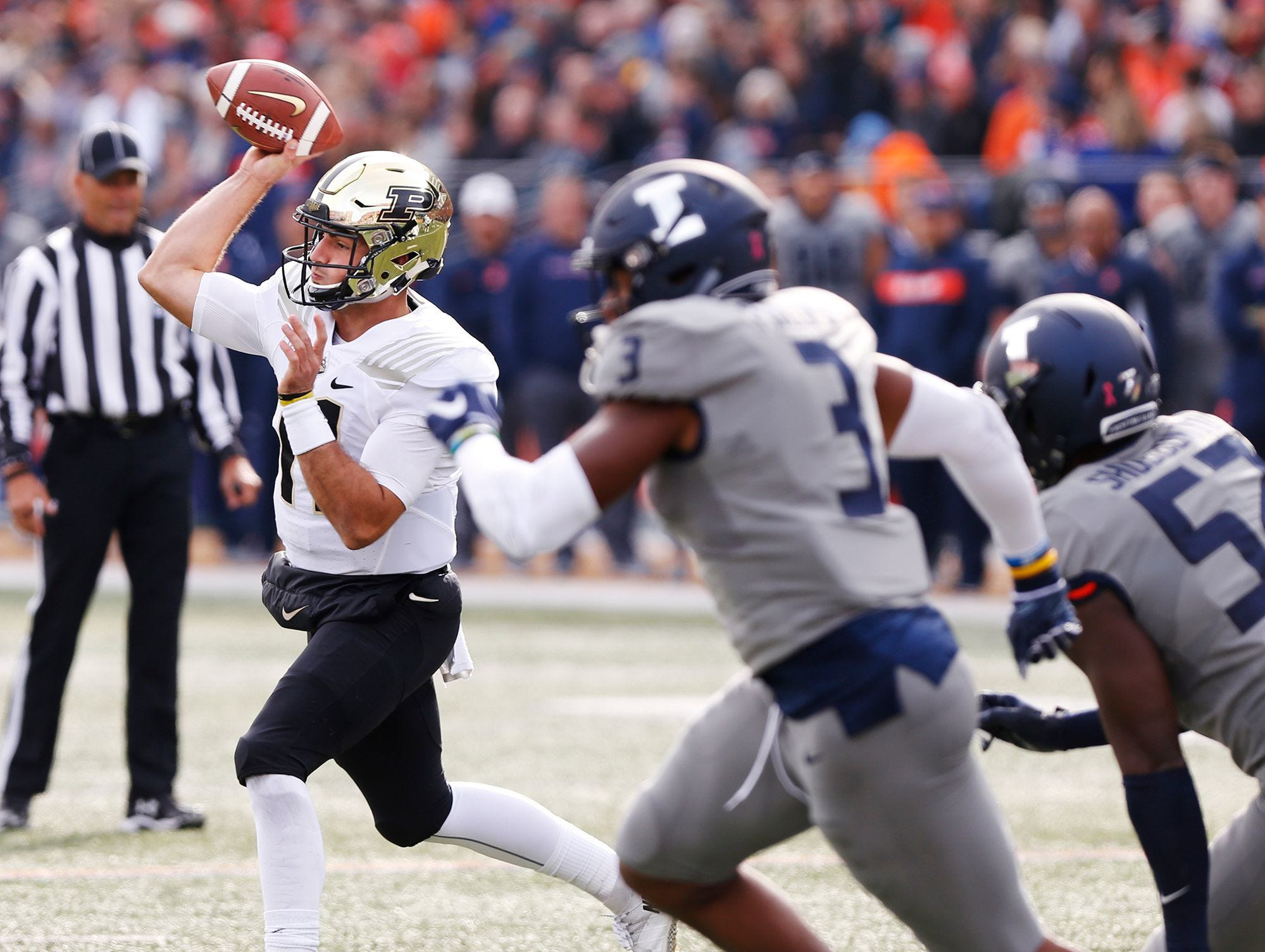 Purdue quarterback David Blough with a first-half pass against Illinois.