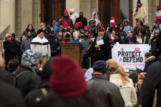 Sister Kathleen Nolan, a member of the Adrian Dominican Sisters in Adrian, Michigan, speaks out against Senate Bill 1171, Wednesday, Nov. 28, 2018, on the steps of the state Capitol.