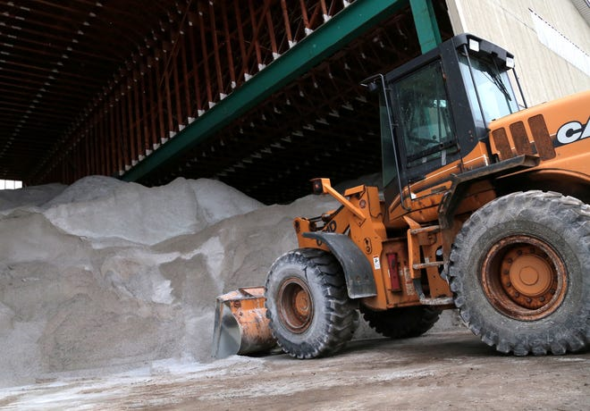 The city of Mansfield's road salt is stored inside a giant barn on Park Avenue East.