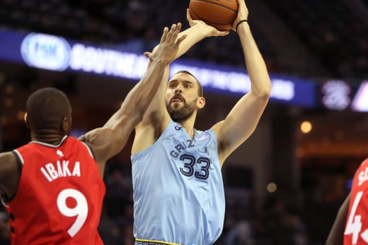 Memphis Grizzlies center Marc Gasol shoots over Toronto Raptors defender Serge Ibaka at the FedExForum on Tuesday, Nov. 27, 2018.