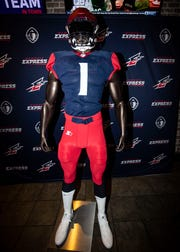 Memphis Express, a charter team of the Alliance of American Football, unveils the team new uniform during a watch party, Tuesday Nov. 27, 2018.