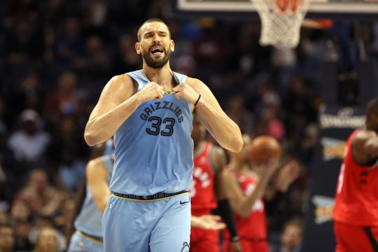 Memphis Grizzlies center yells out after a turnover against the Toronto Raptors defense at the FedExForum on Tuesday, Nov. 27, 2018.