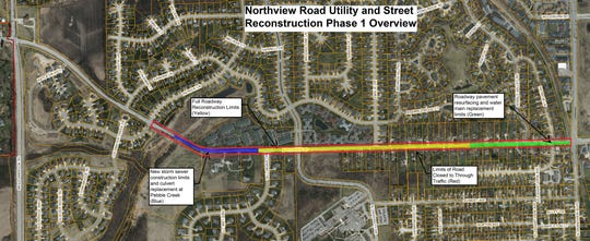 This color-coded map of the Northview Road construction zone shows what areas received what work during the first-phase project. Phase 2 is scheduled to begin next year, picking up where the first phase ended and stretching all the way to the new West Waukesha Bypass.