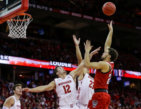 Anderson (12) scored fivepoints andsparked Wisconsin to a 79-75come-from-behind win over North Carolina State on Nov. 27.