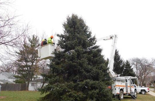 Oconomowoc Park and Forestry crew members Erik Olson and Tim Butson install lights to the Christmas tree near the roundabout in Oconomowoc. The tree was donated by the Club at Lac La Belle.