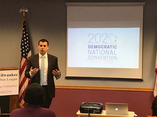 Alex Lasry, chair of Milwaukee's bid for the 2020 Democratic National Convention, spoke Wednesday at Milwaukee Urban League headquarters during a business information session.