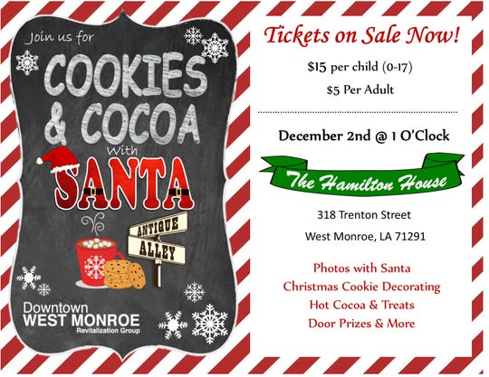 Cookies and Cocoa with Santa is Sunday.