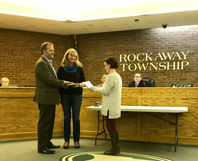 Township Clerk Christina Clipperton swears in Joseph Jackson as the newest member of the Township Council on Nov. 27.
