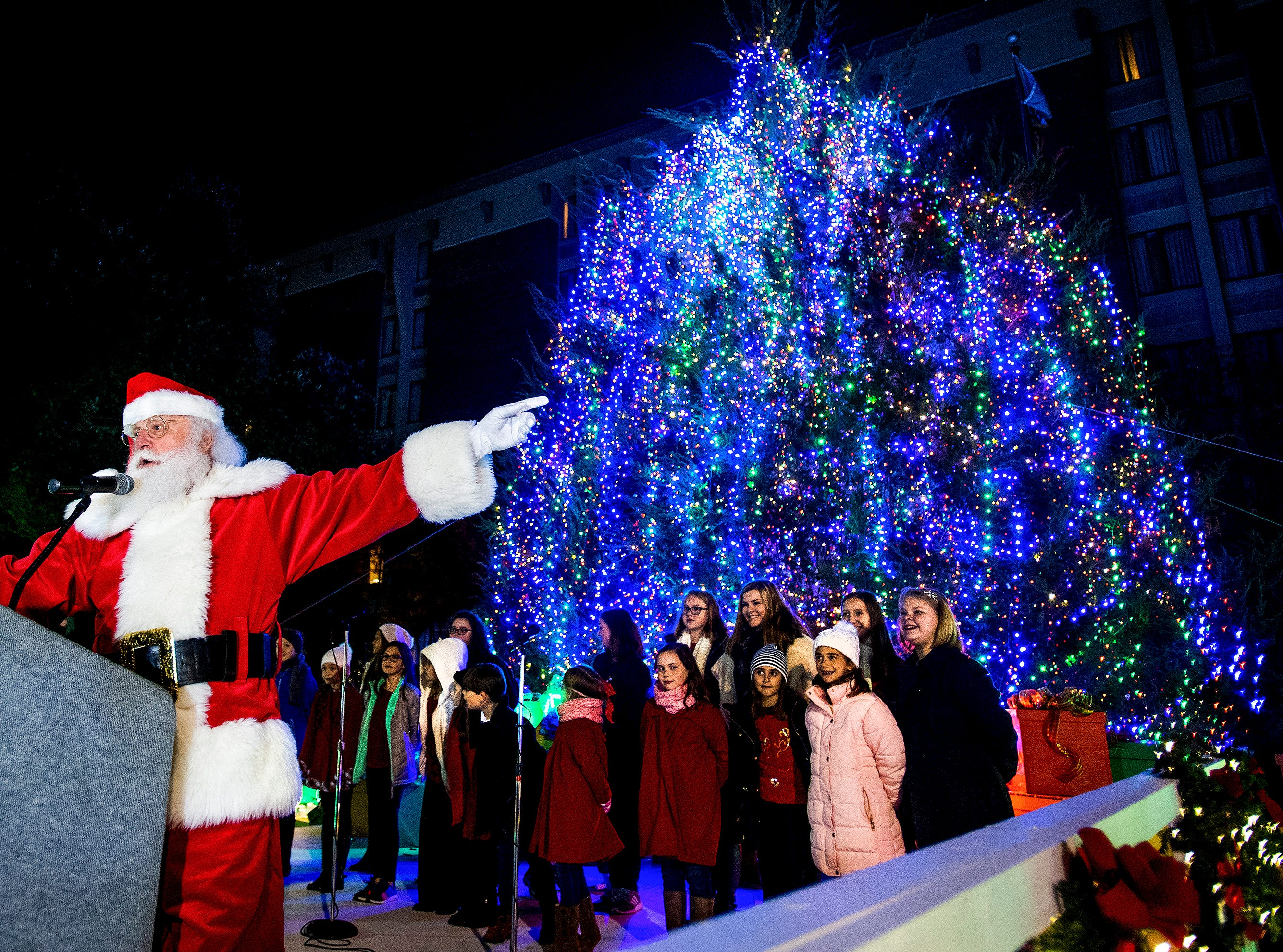 Santa Claus takes part in the City of Montgomery Christmas Tree lighting in Montgomery, Ala., on Tuesday evening November 27, 2018.