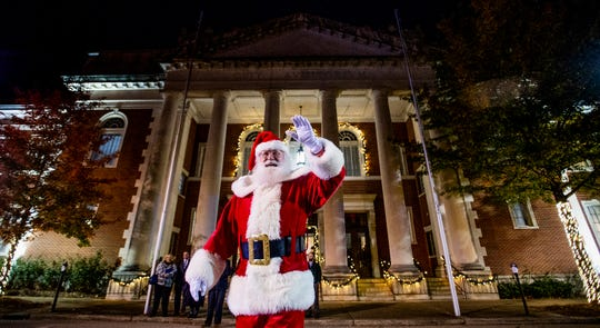 Santa Claus arrives at City Hall for the City of Montgomery Christmas Tree lighting in Montgomery, Ala., on Tuesday evening November 27, 2018.