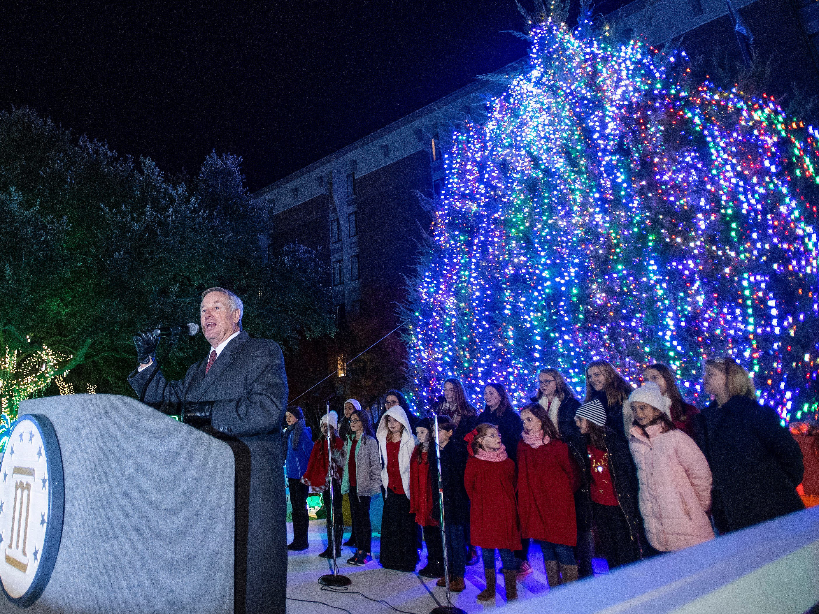 Montgomery Mayor Todd Strange speaks during the City of Montgomery Christmas Tree lighting in Montgomery, Ala., on Tuesday evening November 27, 2018.