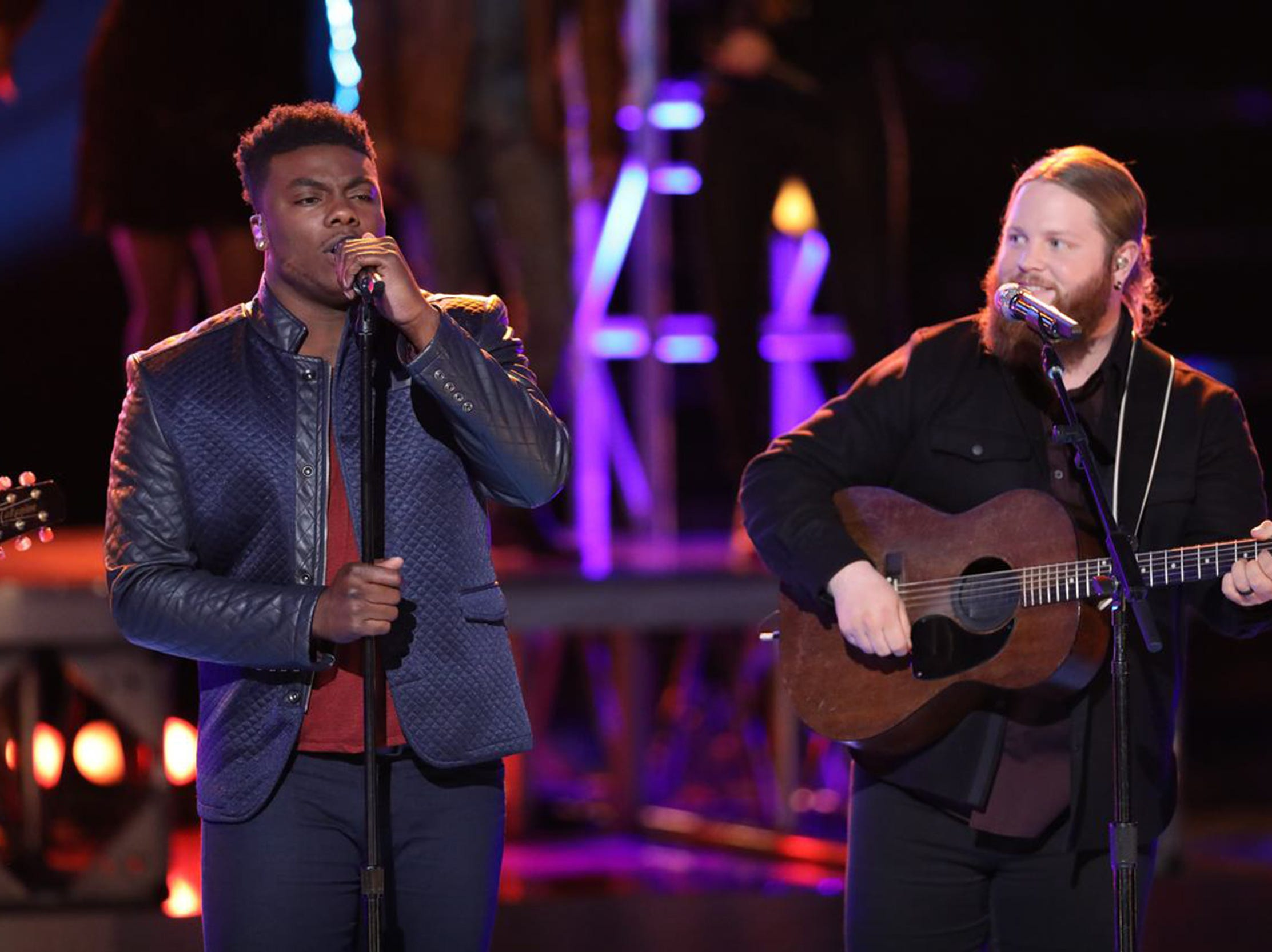 "Kirk Jay, left, and Chris Kroeze perform ""Dixieland Delight"" in a Team Blake song Tuesday on ""The Voice."""